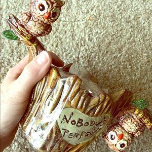 Quirky vintage owl coaster set
